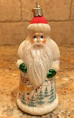 2001 Old World Christmas Frosted Santa w/Reindeer Ornament