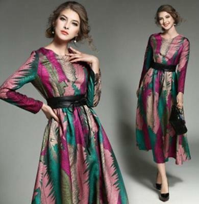 Womens Retro Floral Maxi Gown Jacquard Casual New Swing Long Dress Long Sleeve 8