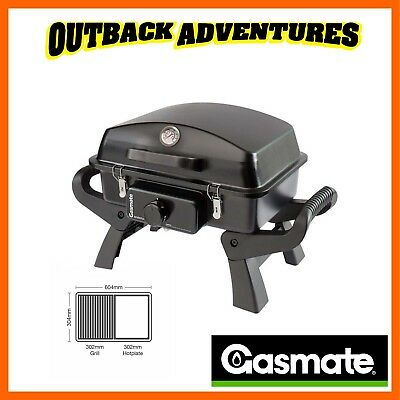 Gasmate Adventurer Deluxe 1 Bbq Portable Camping Cooking Folding Legs Bq1077