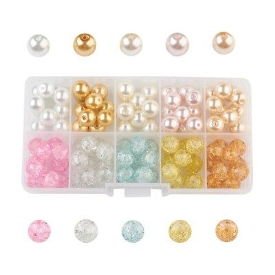 100PCS Glass Pearl Bead Sets Bracelet Necklace Jewelry Making Round Mixed Color