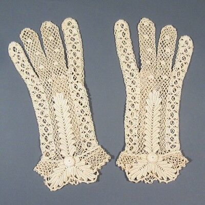 Pair of Antique French Crocheted Lady's Lacy Gloves