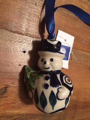 POLISH POTTERY Snowman Christmas Ornament or Decor,Peacock Design, Boleslawiec