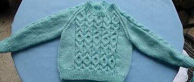 Baby Hand Knitted Cabled Jumper, Mint Green, New Born To 3 Months