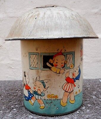 CRAWFORD c.1934  MABEL LUCIE ATTWELL - FAIRY HOUSE -  Tin Plate Money Box Tin