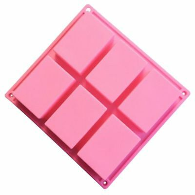 6-Cavity Rectangle Soap Mold Silicone Mould Tray for Home DIY Making NEW