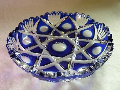Rare Antique BACCARAT Sapphire Blue Cut to Clear Crystal Glass Finger Bowl
