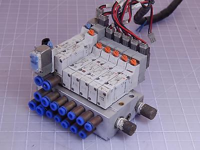 Lot of 7 SMC SY3140-5LZE, SY3440-5MZE Pneumatic Solenoid Valves w/ Manifold T952