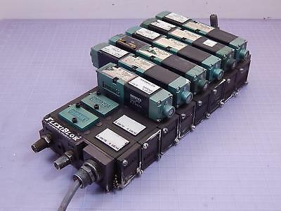 Lot of 6 Numatics 082SS615M Pneumatic Valves w/ Manifold T96881