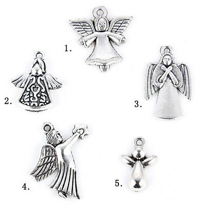 5Pcs Ancient Silver Tone Angel Mixed Charm Pendant DIY Women Fashion Jewelry