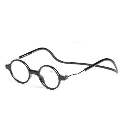 New Round Magnetic Folding Adjustable Neck Hang Reading Glasses Connect Readers