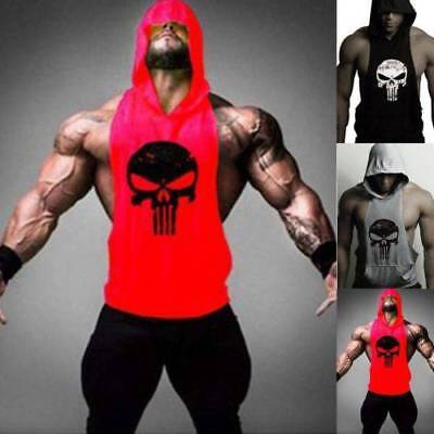 Mens Gym Singlet Punisher Bodybuilding Tank Top Vest Sleeveless Fitness T-shirt