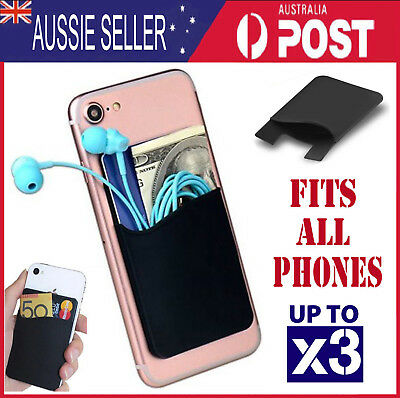 Silicone Mobile Phone Stick On Card Holder Wallet 3M Adhesive - black