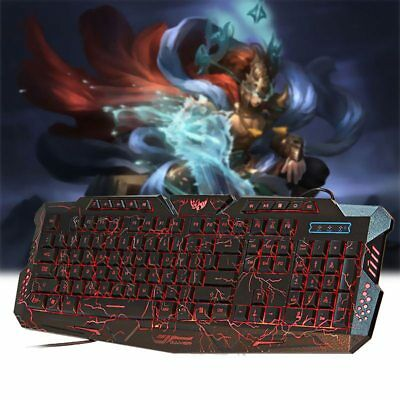 5500DPI Wired Optical Mouse Gaming Keyboard & Mouse Combo 7 Bright Colors for PC