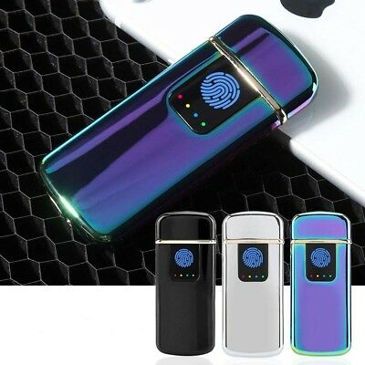 USB Rechargeable Fingerprint Touch Plasma Electric Lighter Windproof Flameless I