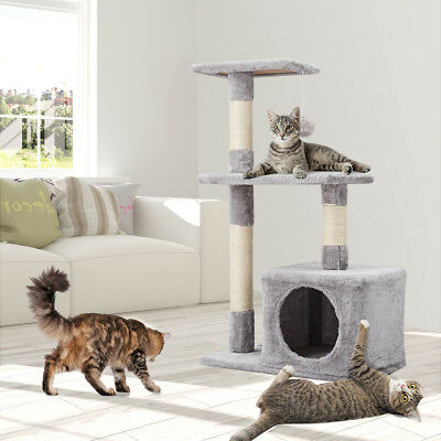Cat Tree House Large Space Dangling Ball Cat House Sisal Scratching Post Stable