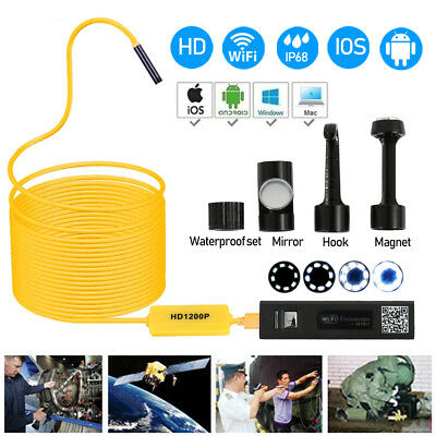 1200P WIFI Endoscope Borescope Wireless Inspection Camera USB for iPhone Android