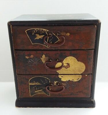 Japanese Miniature Chest Drawers Jewellery Box Antique Oriental Lacquer Gold