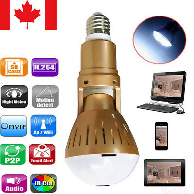 Wireless Light Bulb Camera Security CCTV IP 1080P HD 360° Wifi Panoramic Network