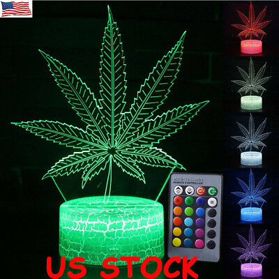 3D LED Night Light Leaf Remote Control LED Table Desk Lamp Home Decor Kids Gift