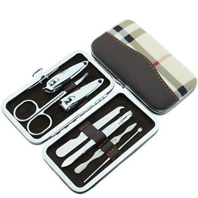 7Pcs Pedicure / Manicure Set Nail Clippers Cleaner Cuticle Grooming Kit Case Box