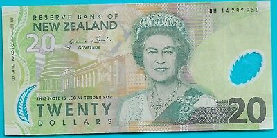 NEW ZEALAND 20 DOLLARS (P187c) (2013) POLYMER PREFIX BH (EF)