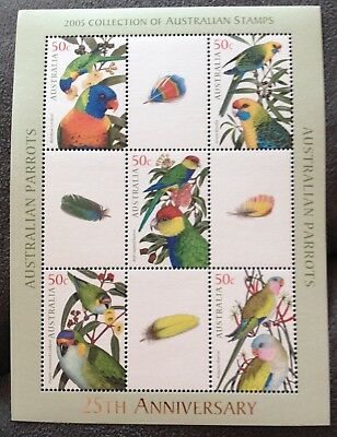 Australia: 2005 PARROTS Miniature sheet only available in PO Year album. MNH