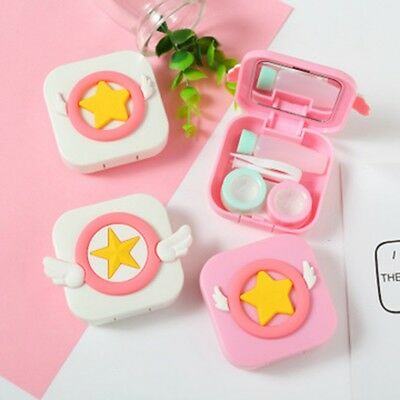 Travel Cute Cartoon Mini Storage Contact Lens Case Holder Mirror Box Container