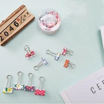 24pcs Cute Colorful Metal Binder Clips File Paper Clip Office Supplies 19mm