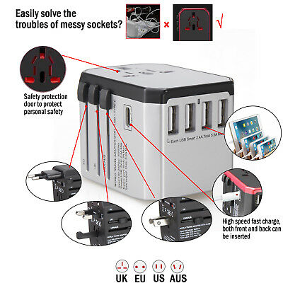 USB EU UK/US/AU Universal Travel Adapter Plug Voltage Converter AC Wall Charger