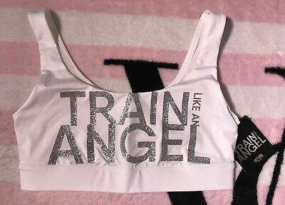 f6367d7319622 Victoria s Secret Sport White Train Like An Angel Logo Scoop Sport Bra - XS