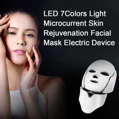 LED 7Colors Light Microcurrent Skin Rejuvenation Facial Mask Electric Device DX