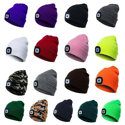 Unisex LED Beanie Hat With USB Rechargeable Battery 5 Hours High Powered Light G