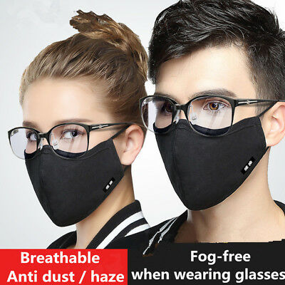 Fashion Fog-free Glasses Face Mask Washable Cotton Anti-Dust Mouth Respirator