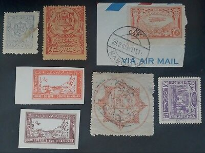 RARE 1909- Afghanistan lot of 7 Postage stamps Mint & Used inc. on piece