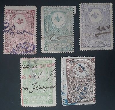 RARE 1890- Turkey lot of 5 Tughra Abdül Hamid II Revenue stamps Used