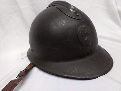 Original WW 2 French Adrian Helmet, Artillery, RF Medallion & Leather Liner