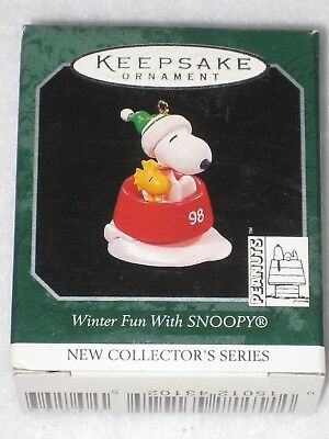 Winter Fun With Snoopy #1 Hallmark Keepsake Miniature Ornament 1998