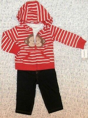 4c8849daf Nwt Baby Boys Size 12 Months Carters 3 Pc. Monkey Hoodie Jeans & Top Outfit
