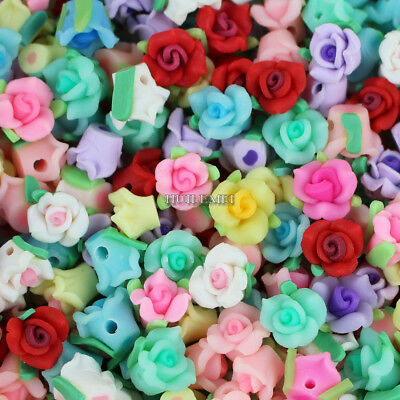 Wholesale 50pcs/lot Mixed 10mm Polymer Fimo Clay Flower Loose Spacer beads