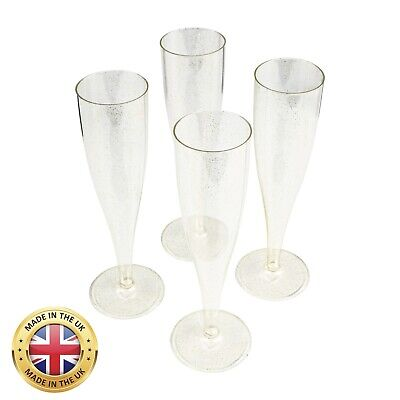 Gold Glitter Plastic Champagne Prosecco Flutes Glasses 175ml one piece pack 10
