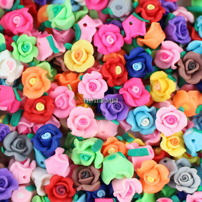 Wholesale 50pcs/lot Mixed 13mm Polymer Fimo Clay Rose Flower Loose Spacer beads