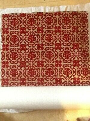 "VINTAGE Flocked Red And Gold Wallpaper. Sanitas Print 12 Yards by 24"". COOL!!!"