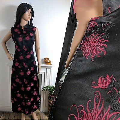 Vintage 1960's Black Pink Chinese Cheongsam Cocktail Long Dress 50s 10 12 38