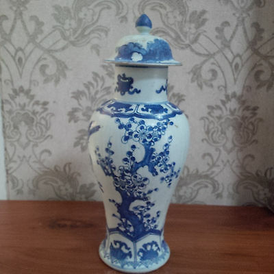 Antique Chinese Qing Kangxi Blue and White Flower Vase and Cover