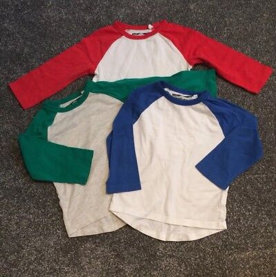 Next Baby Boys Long Sleeved Tops 3 Pack Red Blue Green 18-24M