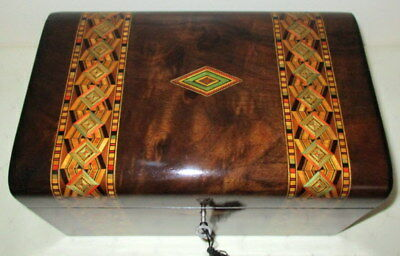 HANDSOME VICTORIAN WALNUT/BANDED BOX with key