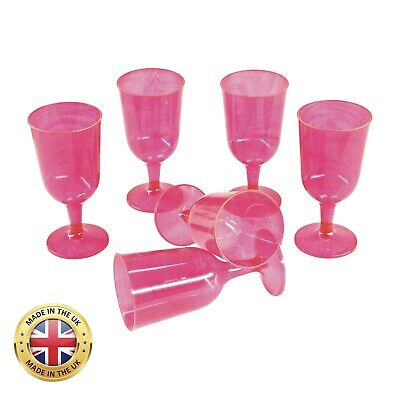 Pink Plastic Wine Glasses Goblets 2 piece Hen Party Night Do Pack x24 Disposable