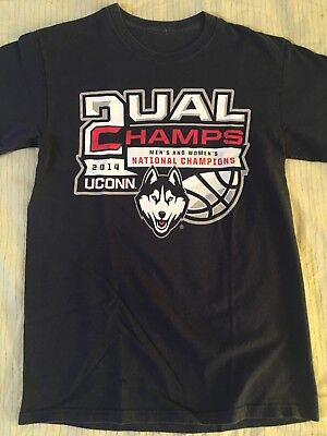 f2d386d17 DUAL CHAMPS 2014 UCONN HUSKIES MEN'S & WOMEN'S NATIONAL CHAMPIONS T-SHIRT •Small