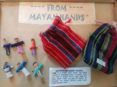Worry Dolls.  2 hand made bags containing 6 cloth wraped dolls each. For$7.00