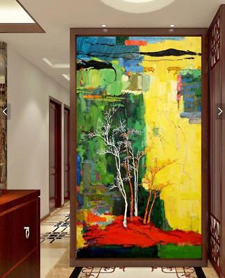 HH256 Modern Large Hand-painted abstract oil painting on canvas Tree No Frame